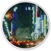 Night Lights City Round Beach Towel
