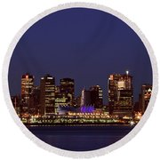 Night Lights Of Downtown Vancouver Round Beach Towel