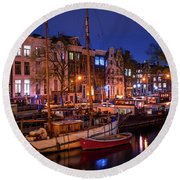 Night Lights On The Amsterdam Canals 7. Holland Round Beach Towel