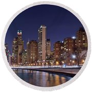Night Lights On The Lakefront Round Beach Towel
