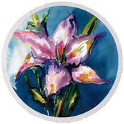 Night Lily Round Beach Towel