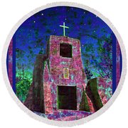Night Magic San Miguel Mission Round Beach Towel
