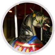 Night Mares At The Central Park Carousel 3 Round Beach Towel