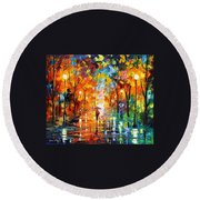Night Mood In The Park Round Beach Towel
