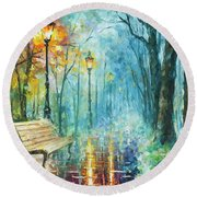 Night Of Inspiration Round Beach Towel