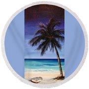 Night On The Beach Round Beach Towel