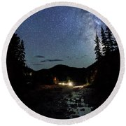 Night On The Blue River Round Beach Towel