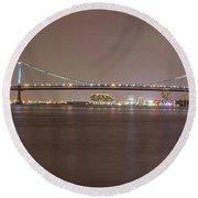 Night On The Delaware - The Benjamin Franklin Bridge Round Beach Towel