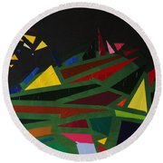 Night On The Green Fractures And Lights Round Beach Towel