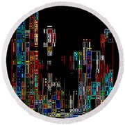 Night On The Town - Digital Art Round Beach Towel by Carol Groenen