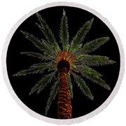 Night Palm Round Beach Towel