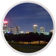 Night Pano Of Fort Worth Round Beach Towel