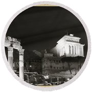 Night Panorama In Rome Round Beach Towel