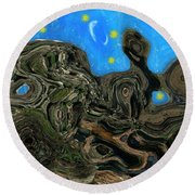 Night Petrified Round Beach Towel