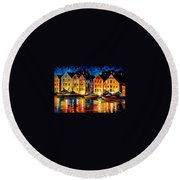 Night Resting Original Oil Painting  Round Beach Towel