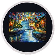 Night River Round Beach Towel