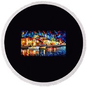 Night Riverfront - Palette Knife Oil Painting On Canvas By Leonid Afremov Round Beach Towel