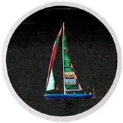 Night Sail 2 Round Beach Towel