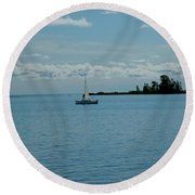 Night Sailing At Port Hope Bay Michigan Round Beach Towel