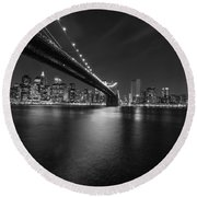 Night Scape Bw Round Beach Towel