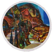 Night Serpentine Round Beach Towel