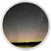 Night Shot Star Trails Lake Round Beach Towel