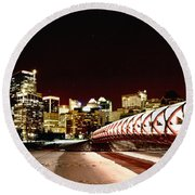 Night Shots Calgary Alberta Canada Round Beach Towel