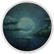 Night Sky Peek-a-boo Round Beach Towel