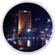 Night Skyline Of Jakarta Indonesia 3 Round Beach Towel