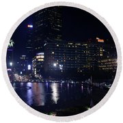 Night Skyline Of Jakarta Indonesia 4 Round Beach Towel