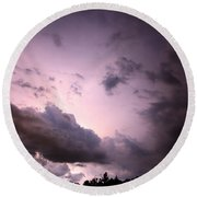 Night Storm Round Beach Towel by Amanda Barcon