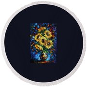 Night Sunflowers Round Beach Towel