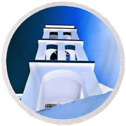 Night Taking Over The Day Of Church In Greece Crete 2 Round Beach Towel