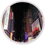 Night Time At Times Square Round Beach Towel