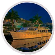 Night Time In Fort Lauderdale Round Beach Towel