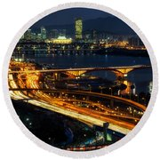 Night Traffic Over Han River In Seoul Round Beach Towel