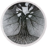 Night Tree Moon And We  Round Beach Towel