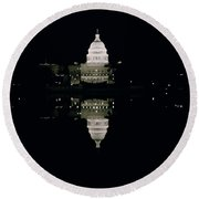 Night View Of The Capitol Round Beach Towel by American School