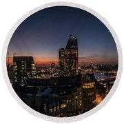 Night View Of The City Of London Round Beach Towel