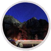 Night View Of The Upper And Lower Yosemite Fall Round Beach Towel