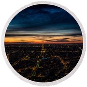 Night View Over Paris With Eiffel Tower Round Beach Towel