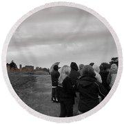 Night Vision Ghost Story In Bradgate Park. Round Beach Towel