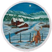 Night Watch Round Beach Towel by Charlotte Blanchard
