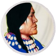 Night Woman, A Blackfeet Of Montana Round Beach Towel