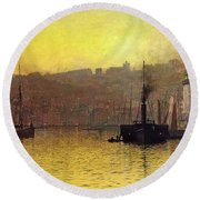 Nightfall In Scarborough Harbour Round Beach Towel