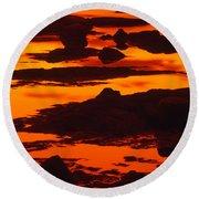 Nightfall Silhouettes Round Beach Towel