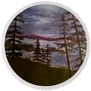 Nightime Rangely Lake Maine Round Beach Towel
