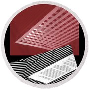 Striped Dreams Of Hubert Humphrey Round Beach Towel