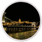 Nightscape On The Danube Round Beach Towel