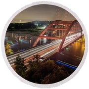 Nighttime Boats Cruise Up And Down The Loop 360 Bridge, A Boaters Paradise With Activities That Include Boating, Fishing, Swimming And Picnicking - Stock Image Round Beach Towel